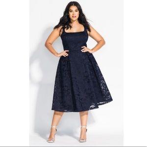 City Chic GORGEOUS Jackie O Dress Navy Blue Sz 20